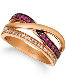 Passion Ruby™ (1/4 cttw) and Nude Diamonds™ (1/4 cttw)  Ring set in 14k rose gold