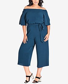 City Chic Plus Size Cropped Off-The-Shoulder Jumpsuit