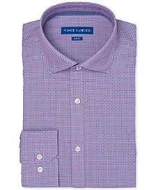 Vince Camuto Men's Slim-Fit Comfort Stretch Rose/Blue Mini Check Dress Shirt