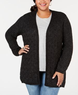 BELLDINI Belle By Belldini Plus Size Open-Front Cardigan in Black Combo