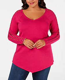 Belldini Plus Size V-Hem Braided-Inset Sweater