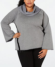 Ideology Plus Size Cowl-Neck Wide-Sleeve Striped Top, Created for Macy's