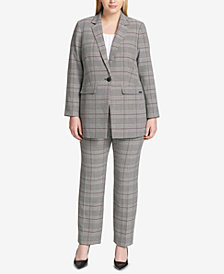 Calvin Klein Plus Size One-Button Plaid Blazer & Modern Ankle Pants