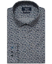 Original Penguin Men's Heritage Slim-Fit Comfort Stretch Printed Denim Dress Shirt