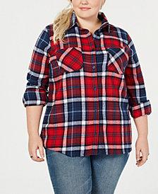 Derek Heart Trendy Plus Size Cotton Plaid Shirt