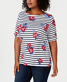 Karen Scott Plus Size Flower-Print Striped Top, Created for Macy's