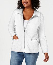 Karen Scott Plus Size Zip-Front Casual Knit Jacket, Created for Macy's