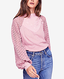 Free People Sweetest Thing Mixed-Material Top