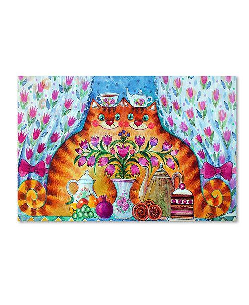 "Trademark Global Oxana Ziaka 'Tea Cats' Canvas Art - 19"" x 12"" x 2"""