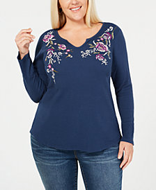 Style & Co Plus Size Cotton Embroidered Thermal Top, Created for Macy's