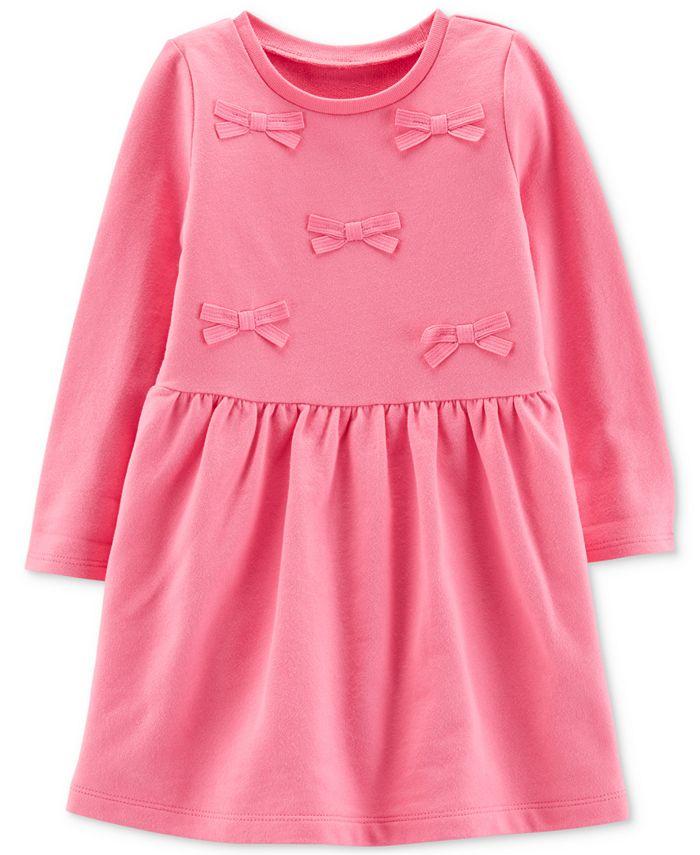Carter's - Toddler Girls Cotton Pink Bow Dress