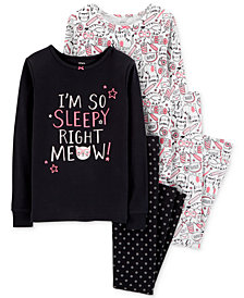 Carter's Little & Big Girls 4-Pc. Kitty-Cat & Floral-Print Cotton Pajamas