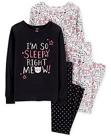 Carter's Little & Big Girls 4-Pc. Kitty-Cat & Floral-Print Cotton Pajamas