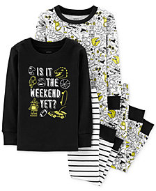 Carter's Little & Big Boys 4-Pc. Cotton Glow-In-The-Dark Weekend Pajama Set