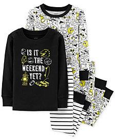 Carter's Little & Big Boys 4-Pc. Cotton Glow-In-The-Dark Weekend Pajama Set