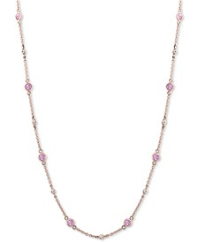 "EFFY® Pink Sapphire (1-3/8 ct. t.w.) & Diamond (1/8 ct. t.w.) 18"" Collar Necklace in 14k Rose Gold"
