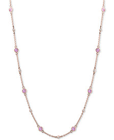 "EFFY® Pink Saphire (1-3/8 ct. t.w.) & Diamond (1/8 ct. t.w.) 18"" Collar Necklace in 14k Rose Gold"