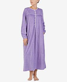 Lanz Printed Microfleece Ballet-Length Nightgown