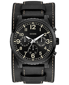 GUESS Men's Black Leather Cuff Strap Watch 46mm
