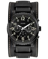 73feb8da8f82d GUESS Men s Black Leather Cuff Strap Watch 46mm