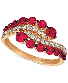 Le Vian® Rhodolite Garnet (1 ct. t.w.) & Diamond (3/4 ct. t.w.) Tiara Ring in 14k Rose Gold
