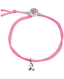 Alex Woo Neon Pink Cord Ribbon Bolo Bracelet in Sterling Silver