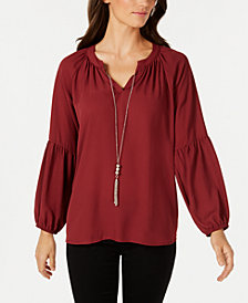 NY Collection Petite Balloon-Sleeve Necklace Top