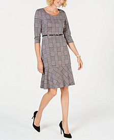 NY Collection Petite Ponté-Knit Belted Plaid Dress