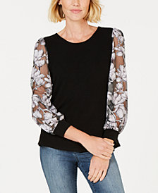 NY Collection Petite Floral-Mesh Sleeve Sweater