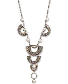 "Lucky Brand Two-Tone Crystal & Imitation Pearl Lariat Necklace, 18"" + 2"" extender"