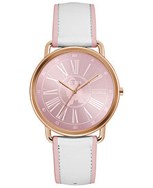 GUESS Women's Pink & White Leather Strap Watch 41mm