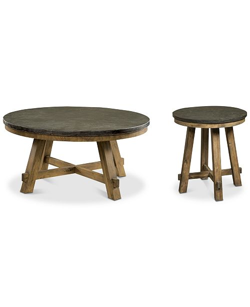 Breslin Bluestone Table Furniture 2 Pc Set Round Coffee End