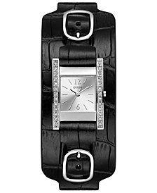 GUESS Women's Black Leather Strap & Cuff Watch 22x24mm