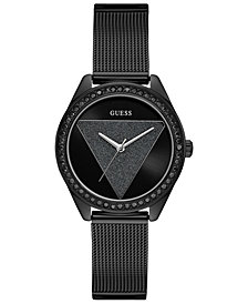 GUESS Women's Black Stainless Steel Mesh Bracelet Watch 36.5mm