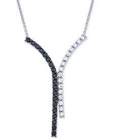 "Diamond Curved Bar Y 18"" Pendant Necklace (1 ct. t.w.) in 14k White Gold"