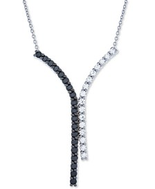 """Diamond Curved Bar Y 18"""" Pendant Necklace (1 ct. t.w.) in 14k White Gold"""