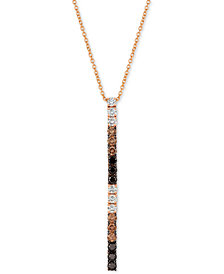 "Le Vian® Chocolate Layer Cake™ Blackberry Diamonds®, Chocolate Diamonds® & Nude Diamonds™ 18"" Pendant Necklace (1 ct. t.w.) in 14k Rose Gold"