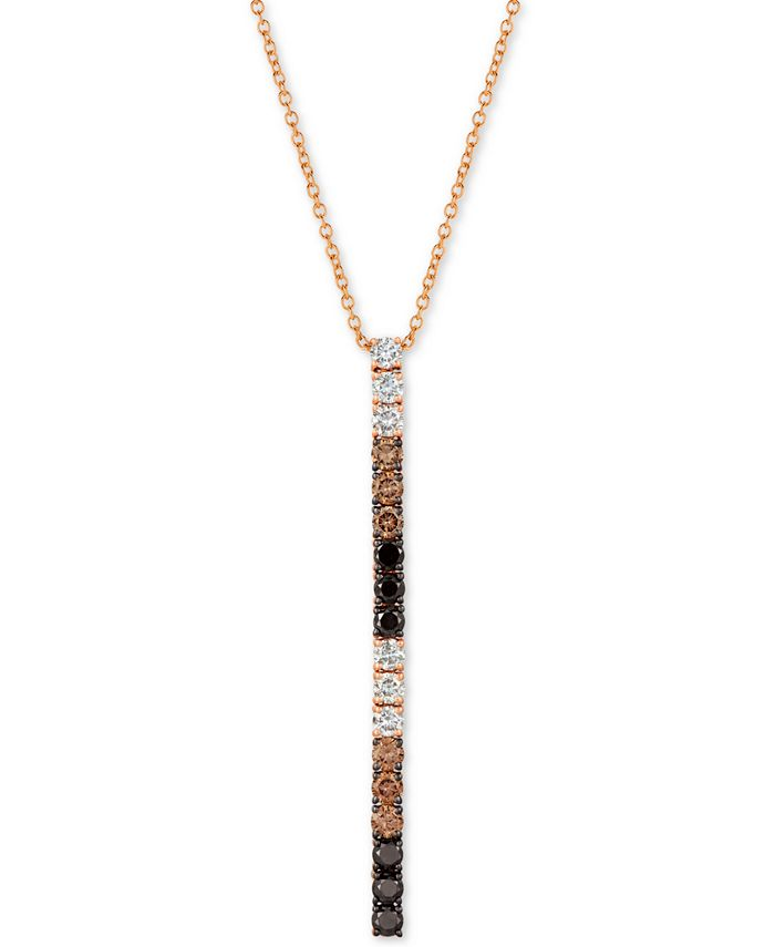 "Le Vian - Tri-Color Diamond 18"" Pendant Necklace (1 ct. t.w.) in 14k Rose Gold"