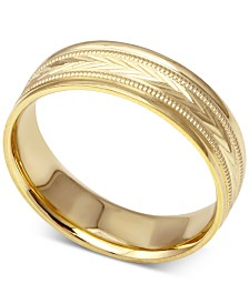 Men's Engraved Wedding Band in 14k Gold
