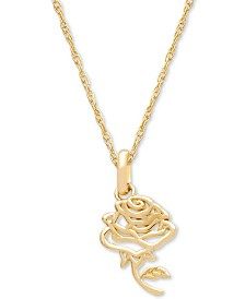 "Disney© Children's Belle Rose 15"" Pendant Necklace in 14k Gold"