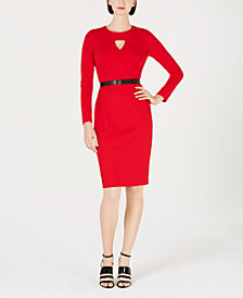 Calvin Klein Petite Diamond-Cut Sheath Dress