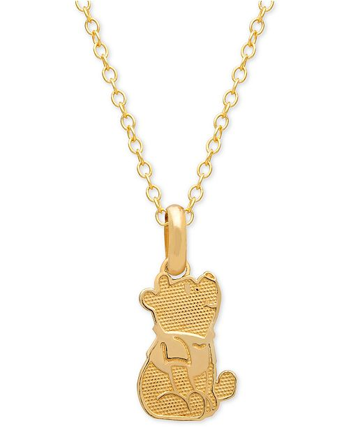 "Disney Children's Winnie the Pooh 15"" Pendant Necklace in 14k Gold"
