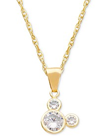 "Children's Cubic Zirconia Mickey Mouse 15"" Pendant Necklace in 14k Gold"