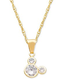 "Disney© Children's Cubic Zirconia Mickey Mouse 15"" Pendant Necklace in 14k Gold"