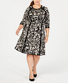 Taylor Plus Size Floral Fit & Flare Dress