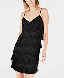 Bar III Fringe V-Neck Slip Dress, Created for Macy's