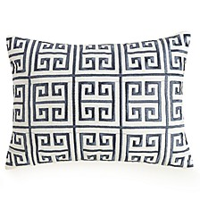 "Greek Key Embroidered 12"" x16"" Decorative Pillow"