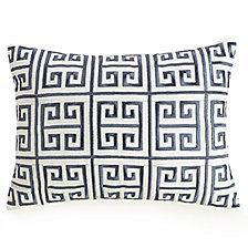 "Greek Key Embroidered 12"" x16"" Decorative Pillow"