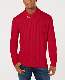 Sean John Men's Cable Knit Shawl Collar Sweater
