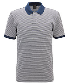 BOSS Men's Slim-Fit Micro-Pattern Cotton Polo